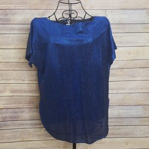 Vintage Toppettes A. Brod blue metallic L top